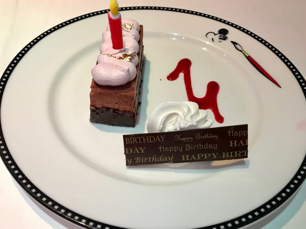Gluten free birthday cake on our Disney Cruise