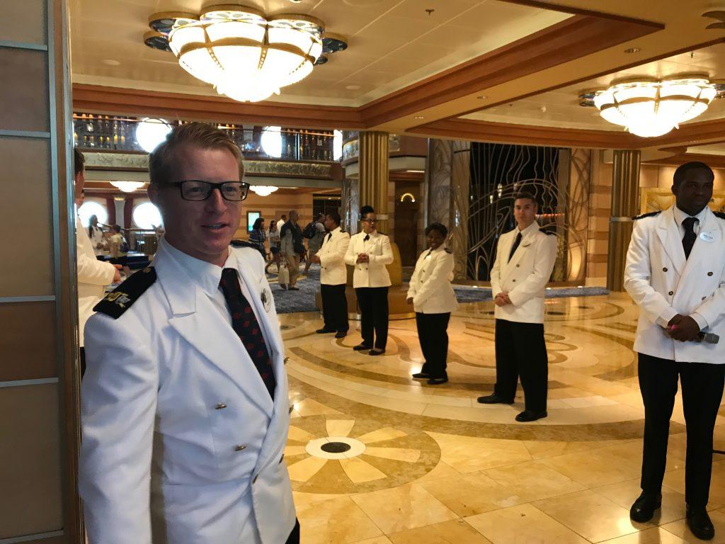 Five Disney Cruise Line Crew Members in Atrium