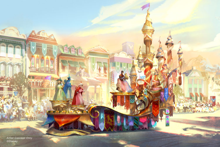 Artist rendering of parade float with fairygodmothers