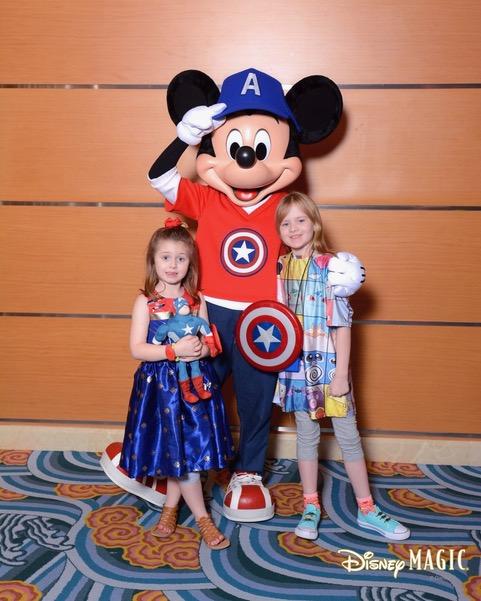 Captain America Mickey with The Shirley family