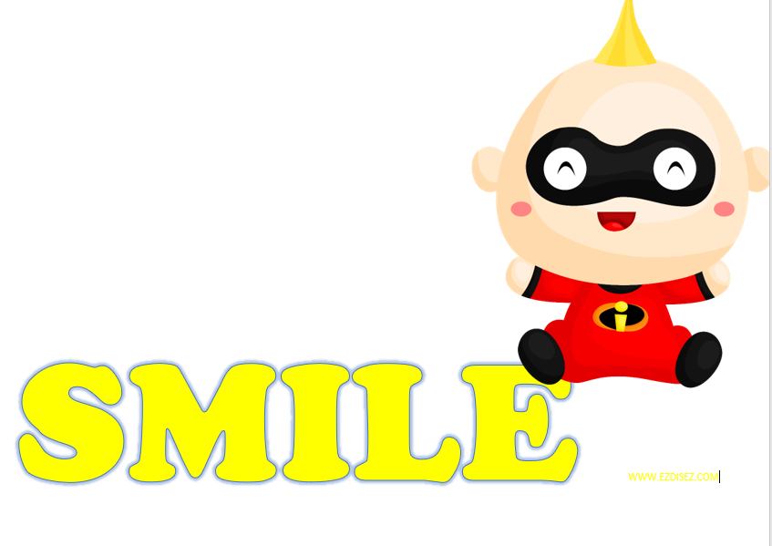 Sign with the word Smile and Jack Jack from The Incredibles