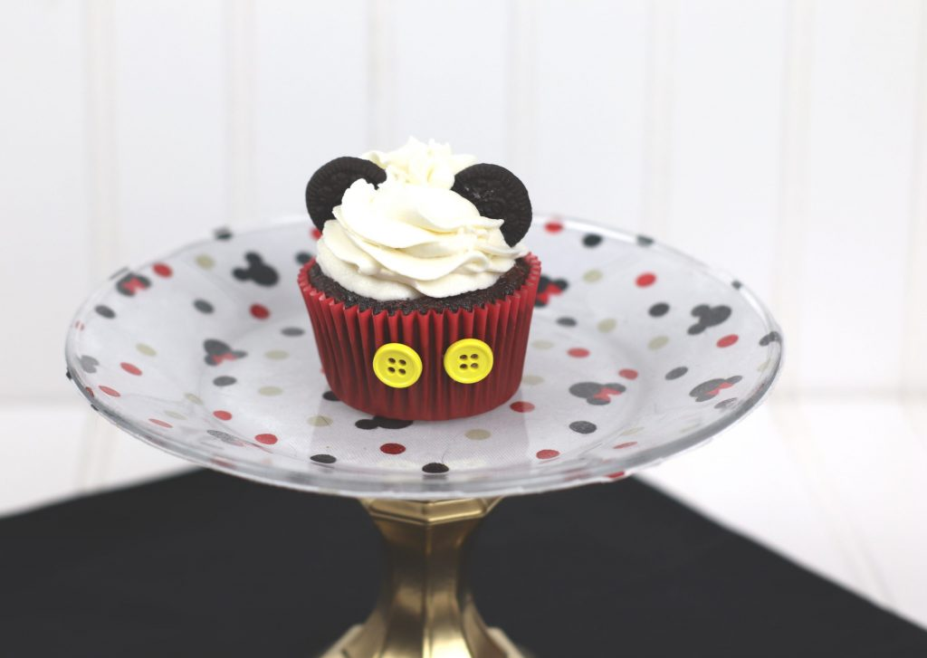 Mickey Mouse cupcake on decorate plate