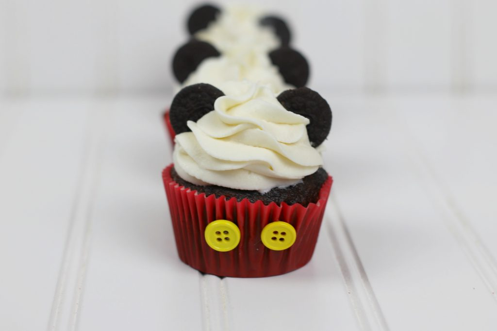 4 Mickey Mouse Cupcakes in line